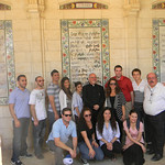 Pilgrims pose for a group photo at the Roman Catholic Pater Noster Convent on the Mount of Olives.